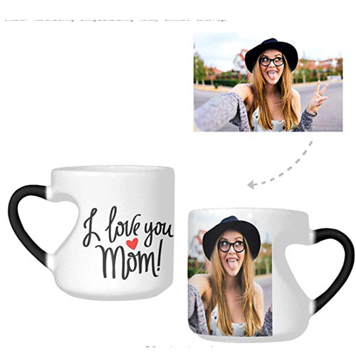 Customized heart handle mug with picture