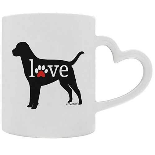 heart handle coffee mug for dog lovers