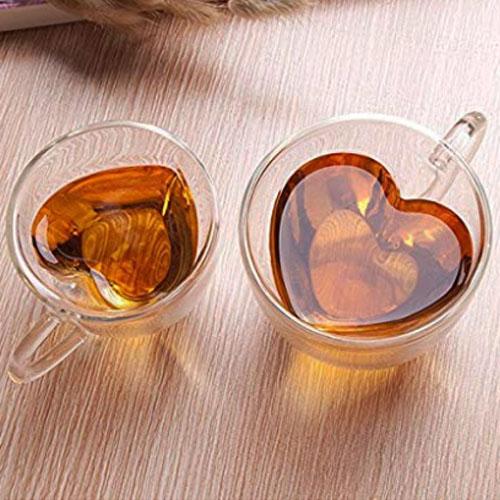 Heart shaped tea mug with double glass