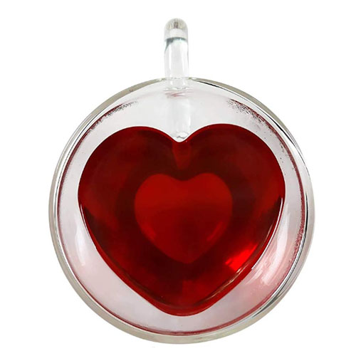 Glass heart shaped cup