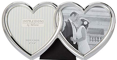 Silver heart shaped picture frame double