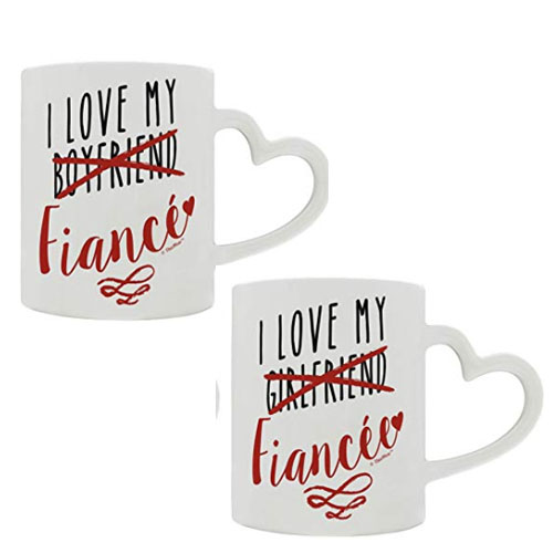 Set of 2 heart handle mugs engagement gift for fiancee