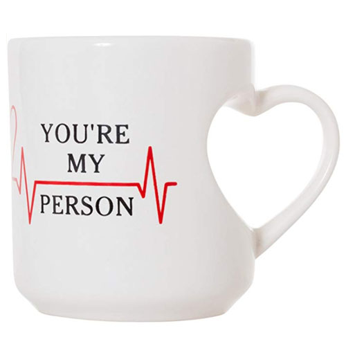 love gift heart handle mug
