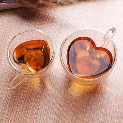 heart shaped tea clear cup