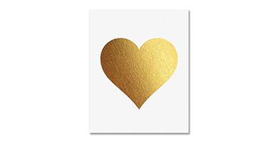 Golden heart print wall poster