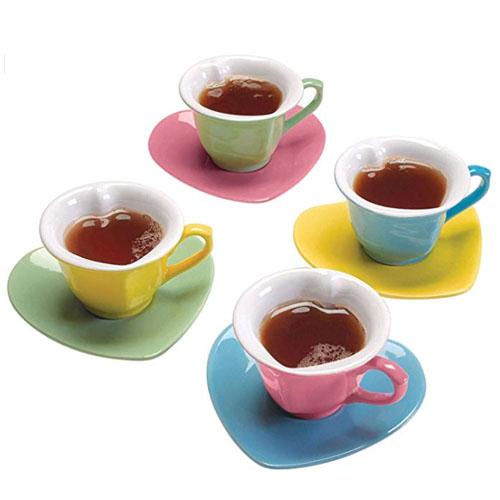 heart shaped tea mug set
