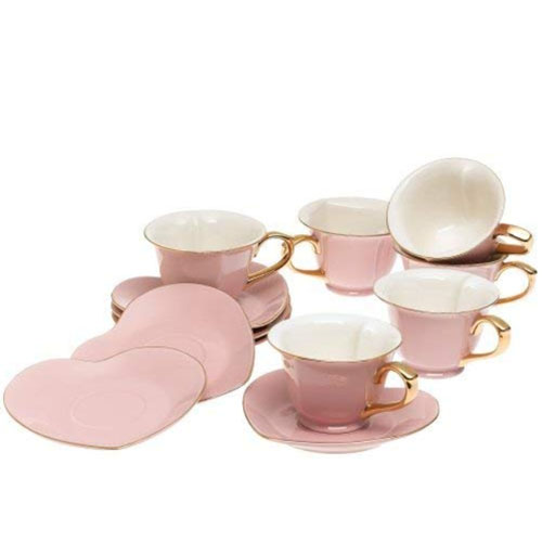 pink color teacup set with heart-shaped plates