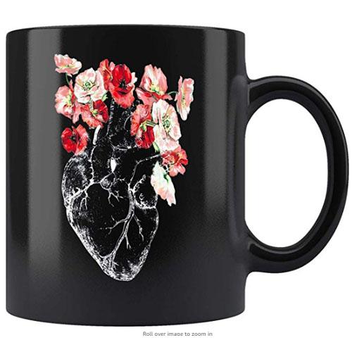 Anatomical heart mug feminist frida khalo inspired with printed flowers