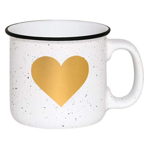Mug with golden heart for camping