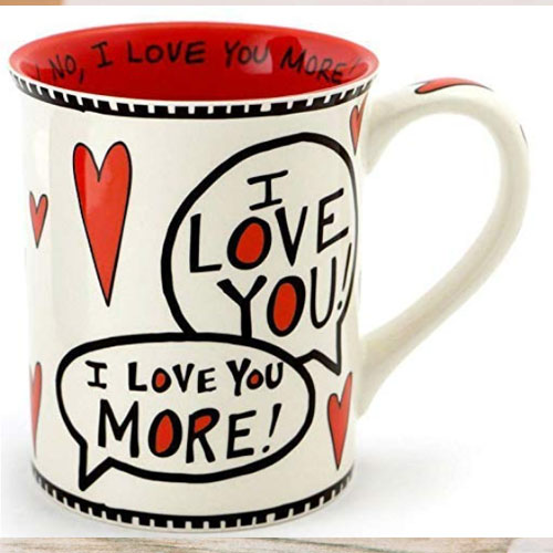 I love you more heart mug