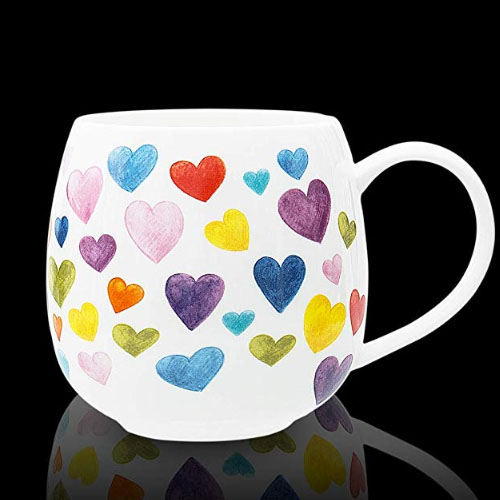Big colorful heart symbol coffee mug